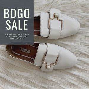 Bally Maelle White Loafers With Buckle